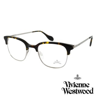 【Vivienne Westwood】英國Anglomania英倫簡約眉框設計光學眼鏡(琥珀銀 AN342M03 12HR)