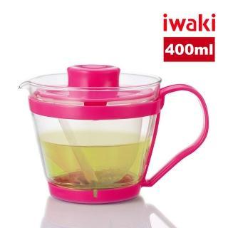 【iwaki】日本品牌耐熱玻璃沖茶器/茶壺-附濾茶網(粉色-400ml)