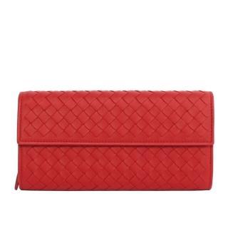 【BOTTEGA VENETA 寶緹嘉】小羊皮二折壓釦零錢袋長夾(紅)