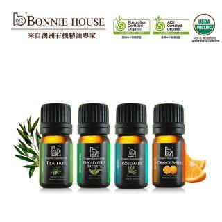 【Bonnie House】雙有機精油入門組_尤加利5ml+茶樹5ml+迷迭香5ml+薰衣草/檸檬(薰衣草/檸檬任選)