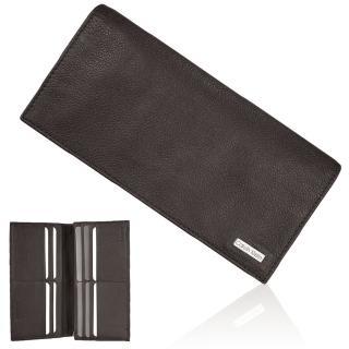 【Calvin Klein】荔枝紋皮革長夾精裝禮盒贈CK帕巾(深咖啡)