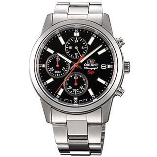 【ORIENT 東方錶】SP系列 透徹時光三眼計時運動石英腕錶鋼帶-黑x42mm(FKU00002B0)