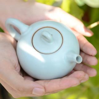 【LohasPottery 陸寶】汝窯藏器 圓珠壺茶組 一壺一海六杯(瑪瑙為釉  精湛工藝)