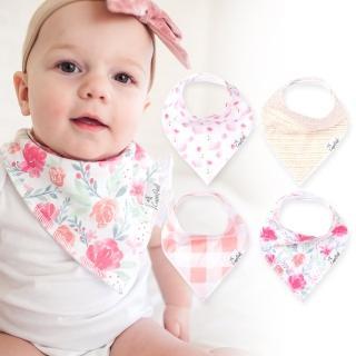 【Copper Pearl】雙面領巾 圍兜口水巾4件組 - 粉紅花卉天鵝 ZACP7XRXT( )
