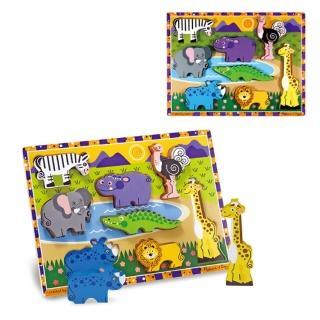 【Melissa & Doug 瑪莉莎】厚片拼圖-野生動物 益智遊戲 空間方位幼兒園保姆(益智成長 邏輯建構 原裝進口)