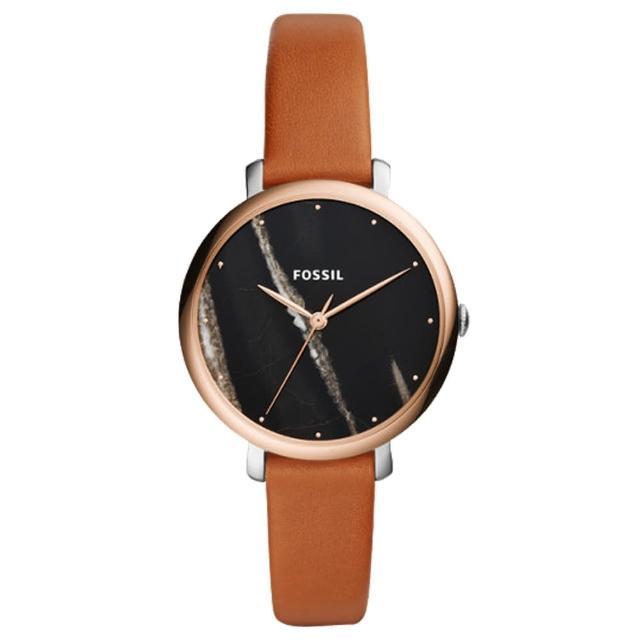【FOSSIL】大理石紋指針女錶 皮革錶帶 黑色大理石紋 防水(ES4378)