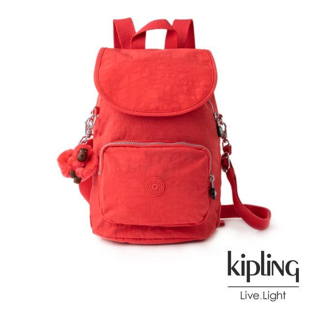 【KIPLING】螢光澄素面拉鍊後背包