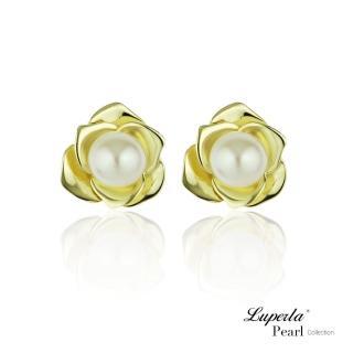 【大東山珠寶】金色玫瑰 純銀天然珍珠耳環(天然淡水珍珠)