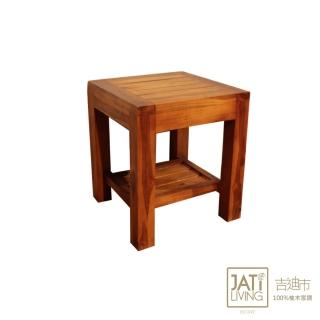 【吉迪市柚木家具】實木板條造型小方椅/矮凳(UNC7-39 實木創意 低調奢華 個性 復古)