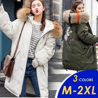 【CHACO】現貨-韓系撞色毛領連帽刺繡布貼寬鬆羽絨棉保暖外套#913(寬版剪裁)
