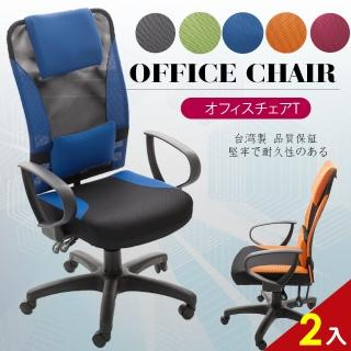 【A1】艾維斯高背護腰透氣網布D扶手電腦椅/辦公椅(5色可選-2入)