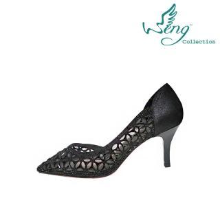 【wengcollection】心女人高跟鞋 簍空萬花筒 黑/黑鑽(厚底高跟鞋)