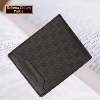 【Roberta Colum】諾貝達 男用皮夾 短夾 專櫃皮夾 進口牛皮配乳膠短夾(28905-黑色)