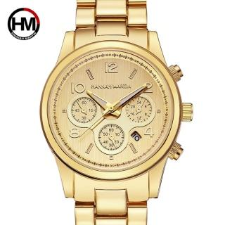 【HANNAH MARTIN】金豪情三眼裝飾不鏽鋼腕錶(HM-1038-J)
