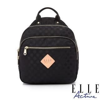【ELLE active】波卡圓點系列-防盜 小後背包-黑色