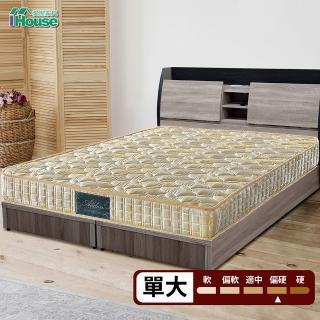 【IHouse】Minerva 福賈 護脊加強律動棉高碳鋼硬式連結床墊(單大3.5x6.2尺)