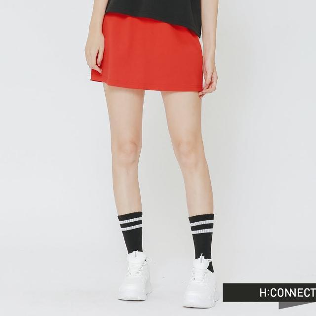 【H:CONNECT】韓國品牌 女裝 - 側滾邊運動風短裙(紅色)