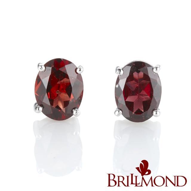 【BRILLMOND JEWELRY】紅火石榴石耳環(925銀台)