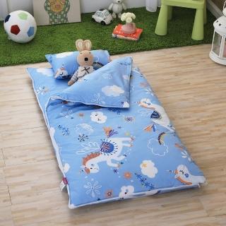 【IN HOUSE】快樂獨角獸-100%精梳棉200織紗-兒童睡袋(藍色)