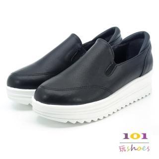 【101玩Shoes】mit. 韓風素面乳膠鬆糕厚底鞋(黑色.35-40號)