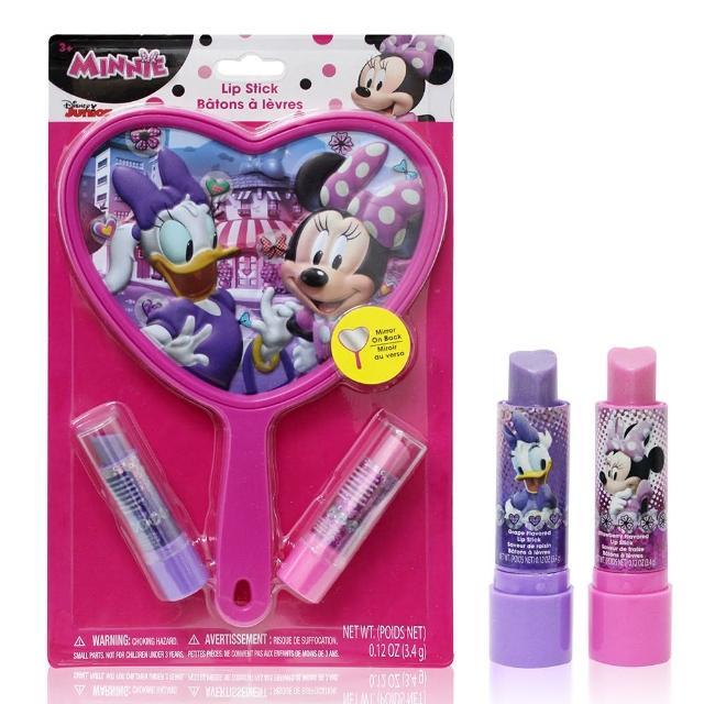 【美國熱銷卡通 Disney Minnie】化妝鏡口紅唇膏2入組