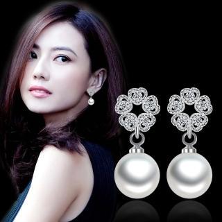 【梨花HaNA】韓國925銀針無可比擬愛心環繞花瓣珍珠鋯石耳環