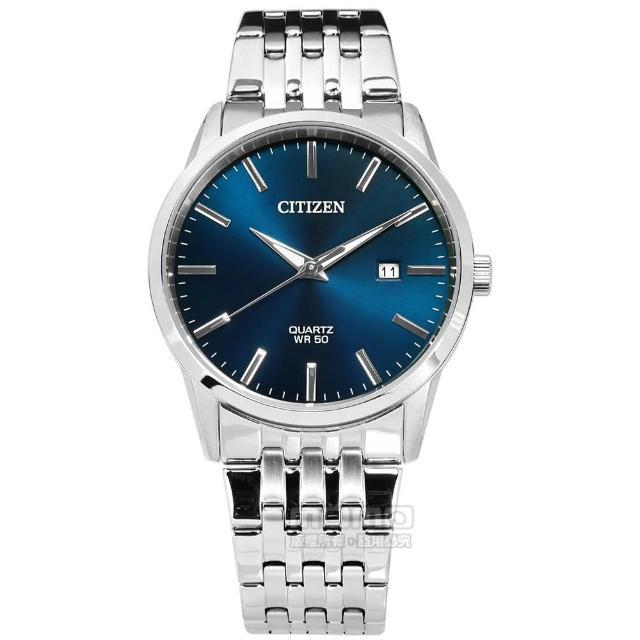 【CITIZEN 星辰】經典極簡 礦石強化玻璃 日本機芯 日期 不鏽鋼手錶 深藍色 39mm(BI5000-87L)