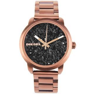 【DIESEL】Flare Rocks結晶礦石造型錶盤古銅金不鏽鋼女腕錶(DZ5560)