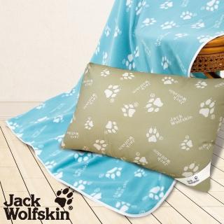 【Jack Wolfskin】2019 暖冬超值組(抗菌枕、藍綠四季毯)