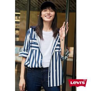 【LEVIS】連帽外套 女裝 / 外搭式襯衫設計 / 藍白條紋(亞洲限定)