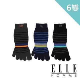 【ELLE HOMME】撞色刺繡條紋五趾男襪-6入組(五趾襪/五指襪)
