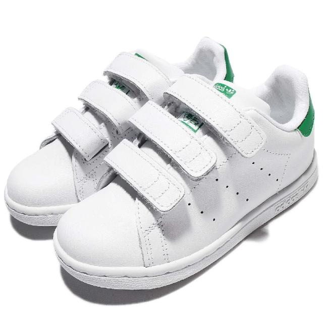 【adidas 愛迪達】休閒鞋 STAN SMITH 低筒 運動 童鞋 愛迪達 基本款 魔鬼氈 穿搭 舒適 小童 白 綠(BZ0520)
