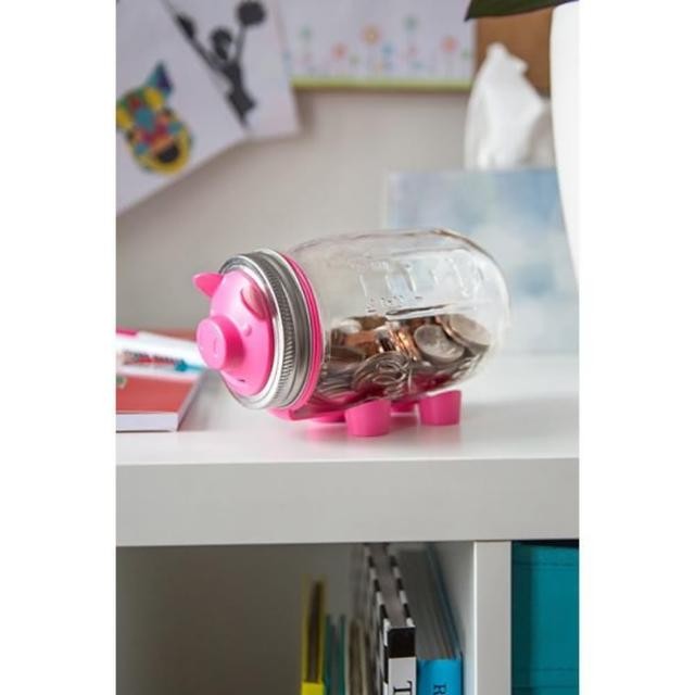 【美國Ball組合】窄口粉紅豬存錢撲滿玻璃梅森罐(16oz)