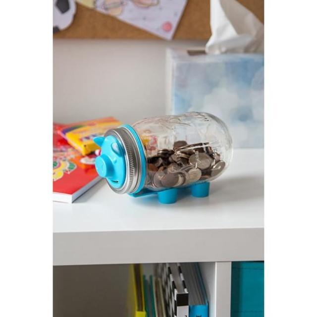 【美國Ball組合】窄口粉藍豬存錢撲滿玻璃梅森罐(16oz)