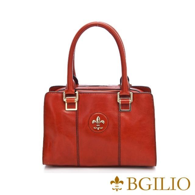 【義大利BGilio】復古牛皮方包小款 - 橘色(1561.002A)