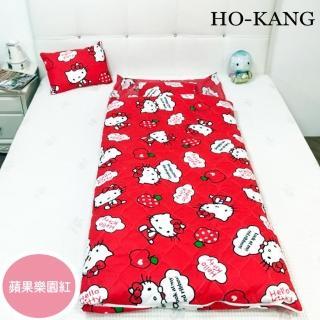 【HO KANG】三麗鷗授權 冬夏鋪棉兩用兒童睡袋 加大款-蘋果樂園-紅