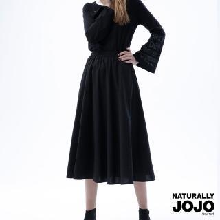 【NATURALLY JOJO】實搭棉麻微蓬裙(黑)