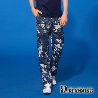 【Dreamming】夏日薄款迷彩伸縮休閒工作長褲(藍灰)