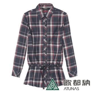 【ATUNAS 歐都納】女款Thermotech彈性長袖長版襯衫(A-S1113W黑紅格/輕量/保暖/休閒/柔軟)