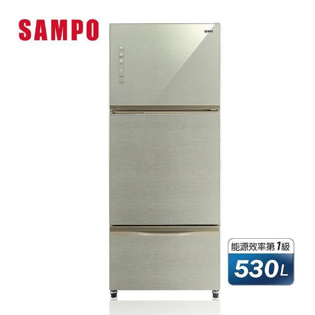 【SAMPO 聲寶】★全新福利品★530公升三門時尚一級玻璃冰箱(SR-A53GDV-Y5)