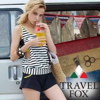 【Summer Love 夏之戀】TRAVEL FOX連身褲兩件式泳衣-加大碼(C18712)