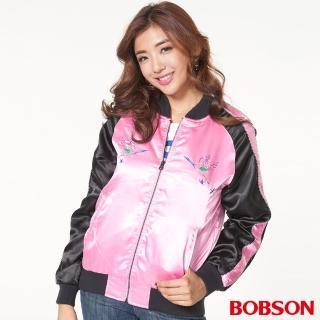 【BOBSON】女款刺繡綢緞鋪棉夾克(37101-15)