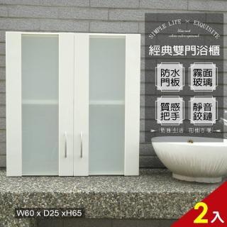 【Abis】經典霧面雙門加深防水塑鋼浴櫃/置物櫃(白色-2入)