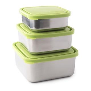 【美國 U Konserve】方形不鏽鋼便當盒 大中小三件套組 清新草綠(無隔條)