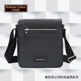【Roberta Colum】諾貝達百貨專櫃 男仕側背包 直立翻蓋(8905黑色)