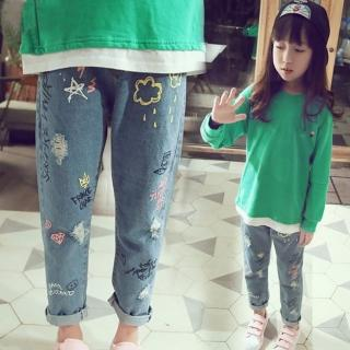 【小衣衫童裝】小中大童個性彩色塗鴉印花休閒牛仔褲(1070907)