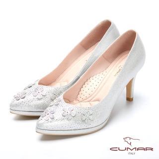 【CUMAR】璀璨閃耀-立體花卉水鑽點綴防水台高跟鞋(黑色)