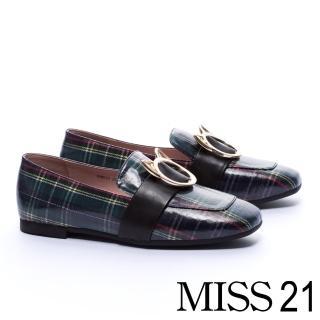 【MISS 21】復古俏皮小貓釦飾全真皮方頭低跟樂福鞋(格紋)