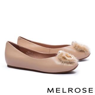 【MELROSE】奢華貂毛珍珠環飾牛皮楔型低跟鞋(杏)
