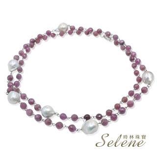 【Selene】紅寶石切角變形珍珠項鍊(多種穿戴搭配)